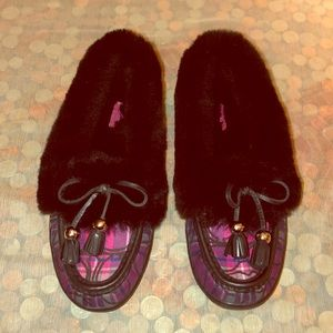 Coach Fiona Pink Tartan Plaid Shearling Slippers